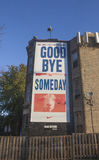 Goodbye to Someday and the Goat Curse. Chicago, Illinois - November 5, 2016: A banner across from Wrigley Field that bids goodbye to the Cubs fan mantra, ` Stock Photo