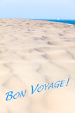 Goodbye View to the Sea Horizon - Bon Voyage. Large sand dune and far away ship at the blue ocean background Stock Photo