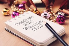 Goodbye 2018 welcome 2019 with decoration royalty free stock photo