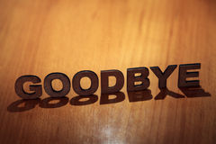 Goodbye. Wooden letters forming the words Goodbye royalty free stock image