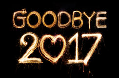 Goodbye 2017. Word made from sparkler firework light Royalty Free Stock Images