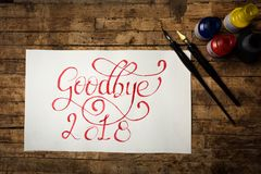 Goodbye 2018 written in red ink royalty free stock photo