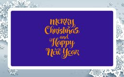 "New Year card design. Gooden""merry Christmas and Happy New Year"" text on blue backround which has pale purple frame-shaped with ice flowers on vector illustration"