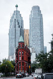 Gooderham Building and Skyscrapers in Toronto in Autumn Royalty Free Stock Photos