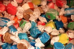 Goodies. Pile of salt water taffy snacks Stock Photography