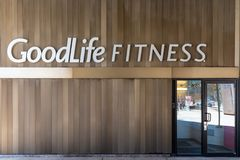 Goodlife Fitness Sign at the entrance of gym, Toronto, Canada Royalty Free Stock Photos