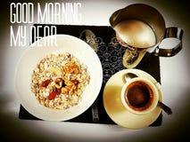 Goodmorning dear milkcoffee coffee breakfast Stock Photography