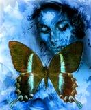 Goodnes-Frau und Farbschmetterling, Mischmedium, abstrakter Farbhintergrund Lizenzfreie Stockfotografie