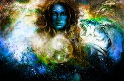 Goodnes kvinna och djur och symbol Yin Yang Kosmisk utrymmebakgrund stock illustrationer