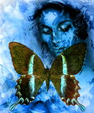 Goodnes woman and  color butterfly, mixed medium, abstract color background. Royalty Free Stock Photography