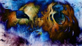 Goodnes woman and eagles. Cosmic Space background. Color effect. Stock Photos