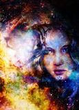Goodnes woman and lion. Cosmic Space background. Stock Photography