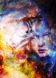 Goodnes woman and tiger. Cosmic Space background. Goodnes woman and tiger. Cosmic Space background stock illustration