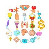 Goodness icons set, cartoon style. Goodness icons set. Cartoon set of 25 goodness vector icons for web isolated on white background Stock Image