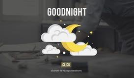 Goodnight conceito feliz da fada da noite Fotos de Stock