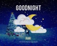 Goodnight lyckligt nattfebegrepp Arkivbilder