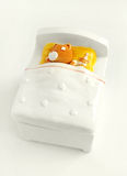 Goodnight sleepy baby. Kids theme item - A top view image of a cute and adorable ornament - a sleepy teddy bear with its stuffed toy, cozy in bed.  Bright and Stock Photos