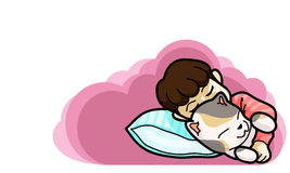 Goodnight and sweetdream ,vector illustration. Kid sleep with them pet cartoon style Royalty Free Stock Photos