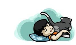 Goodnight and sweetdream ,vector illustration. Kid sleep with them pet cartoon style Vector Illustration