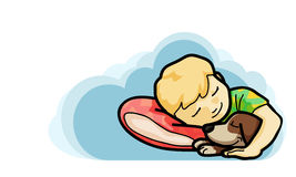 Goodnight and sweetdream ,vector illustration. Kid sleep with them pet cartoon style Royalty Free Stock Photography