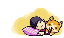 Goodnight and sweetdream ,vector illustration. Kid sleep with them pet cartoon style Royalty Free Illustration