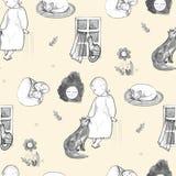 Goodnightreeks, hand-drawn ontwerpelementen Mamma en baby volks Naadloos patroon Royalty-vrije Stock Fotografie