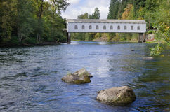 Goodpasture Bridge on McKenzie River Stock Photo