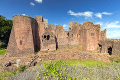 Goodrich Castle - front view, Herefordshire. Goodrich is built on a sandstone outcrop and is one of the finest and best preserved of the English medieval Stock Photography