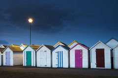 Goodrington plaży budy Fotografia Royalty Free