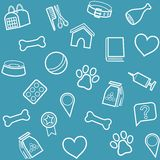 The goods for animals, background, seamless, blue. Royalty Free Stock Photos