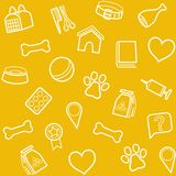 The goods for animals, background, seamless, yellow. Stock Images