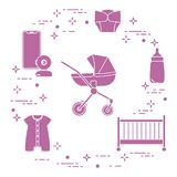 Stroller, crib, baby monitor, bottle, clothes. Goods for babies. Stroller, crib, baby monitor, bottle, waterproof panties, overalls stock illustration