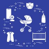 Stroller, crib, baby monitor, bottle, clothes. Goods for babies. Stroller, crib, baby monitor, bottle, waterproof panties, overalls royalty free illustration