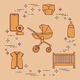 Stroller, crib, baby monitor, bottle, clothes. Goods for babies. Stroller, crib, baby monitor, bottle, waterproof panties, overalls vector illustration