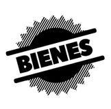 Goods black stamp. In spanish language. Sign, label, sticker royalty free illustration