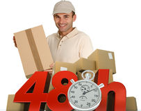 Goods delivery in 48 hrs. A messenger delivering a parcel with 48 hrs and a chronometer Stock Photo