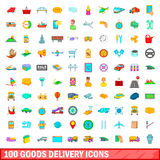 100 goods delivery icons set, cartoon style. 100 goods delivery icons set in cartoon style for any design illustration royalty free illustration