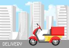 Goods delivery by motorcycle. Illustration of scooter motorbike on city background Royalty Free Stock Photography