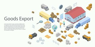 Goods export concept banner, isometric style stock illustration