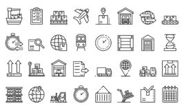 Goods export icons set, outline style. Goods export icons set. Outline set of goods export vector icons for web design isolated on white background stock illustration