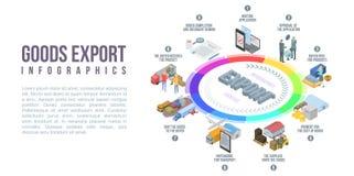 Goods export infographic, isometric style stock illustration
