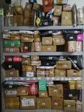 Express shelves. Goods on Express shelves Stock Image