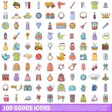 100 goods icons set, cartoon style. 100 goods icons set. Cartoon illustration of 100 goods vector icons isolated on white background Royalty Free Stock Images