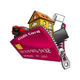 Goods inside credit card with zipper Royalty Free Stock Photography
