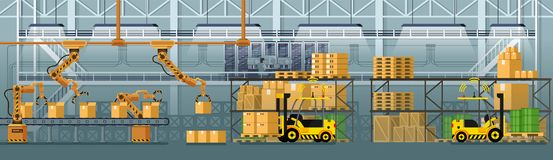 Goods Packing Automatic Conveyor Line Vector royalty free illustration