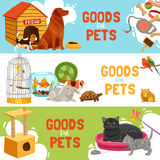 Goods For Pets Horizontal Banners. Home pets three horizontal banners with parrot in cage turtle rabbit dog and cat icons and description goods for pets vector Stock Photos