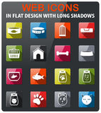 Goods for pets icon set. Goods for pets icons set in flat design with long shadow Royalty Free Stock Images