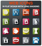Goods for pets icon set. Goods for pets icons set in flat design with long shadow Royalty Free Stock Image