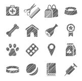 Pet products, icons, grey, shading with pencil, vector. The goods for Pets. Monochrome icons. Hatch grey pencil on a white field. Imitation. Vector clip art Royalty Free Stock Photo