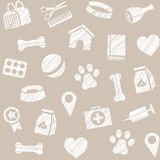 Pet products, seamless pattern, shading pencil, gray, vector. The goods for Pets. Veterinary care. Color, flat background. Hatching with a white pencil on a Stock Photos